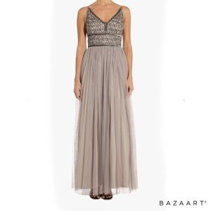 NWT Adrianna Papell beaded bodice gown platinum 6